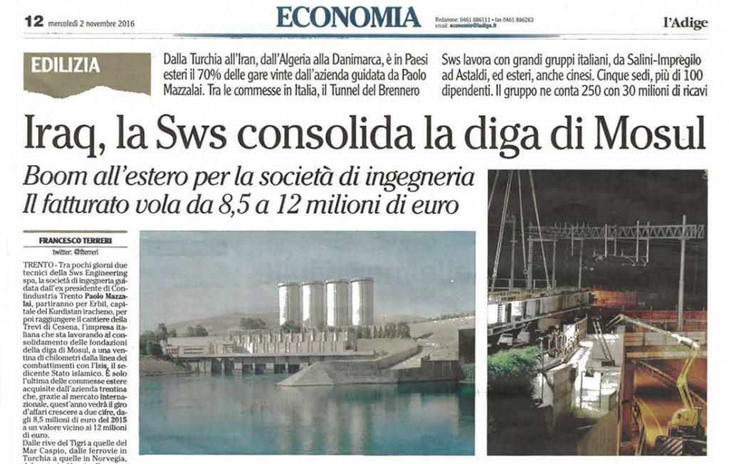 L'Adige: boom estero per SWS