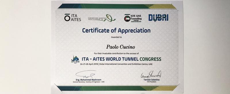 WTC Dubai 2018 – Certificate of Appreciation
