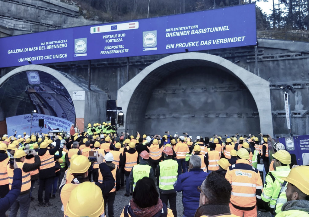 Breakthrough on south portal of the longest undeground railway tunnel in the world!