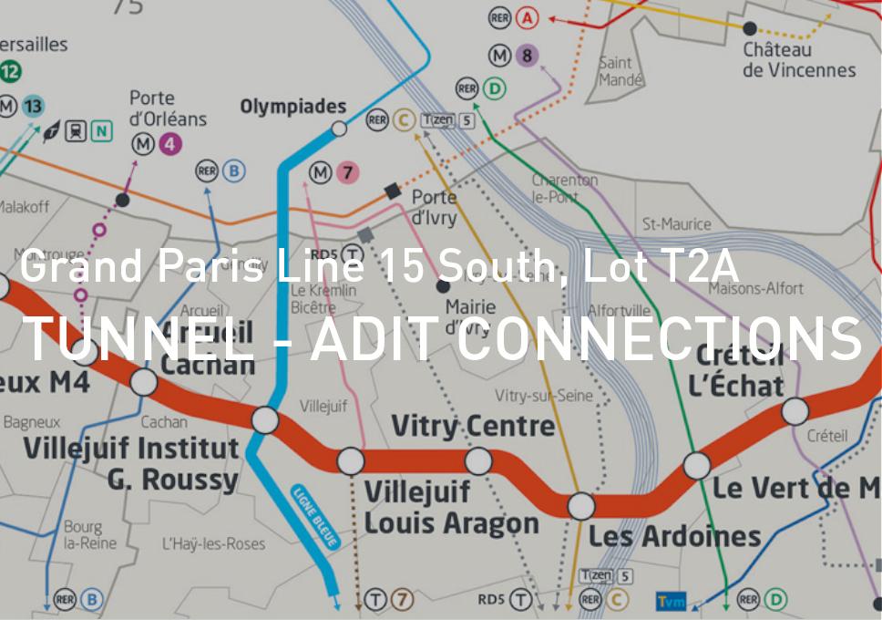 "Grand Paris Line 15 South, Lot T2A – ""Tunnel – Adit"" connections"