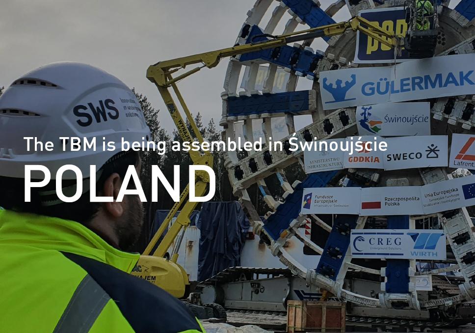 The TBM is being assembled in Świnoujście, Poland