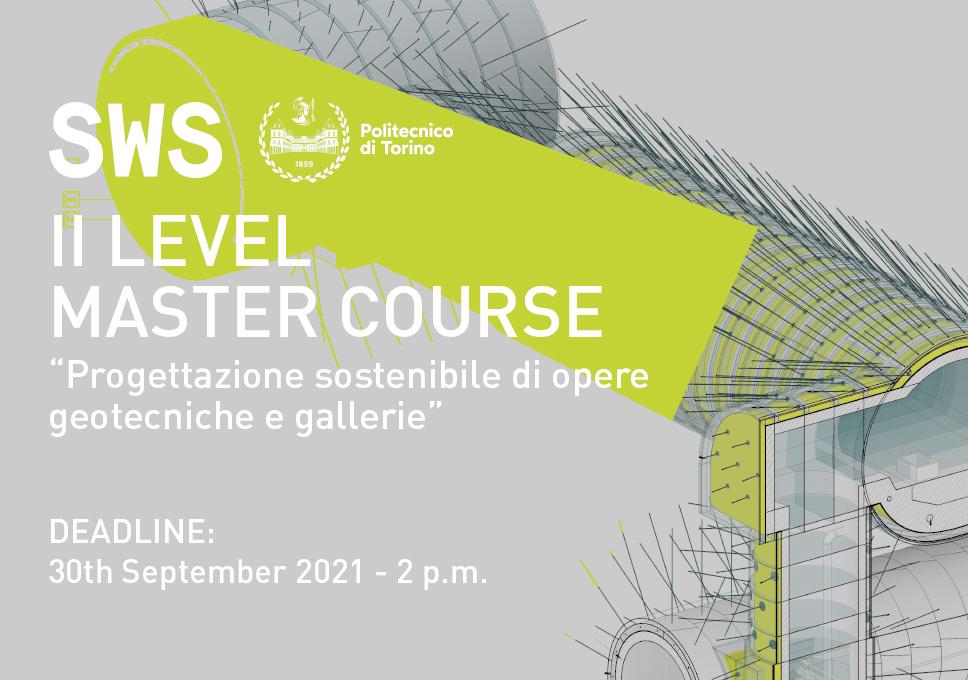 """II Level Master course in """"Progettazione sostenibile di opere geotecniche e gallerie"""""""